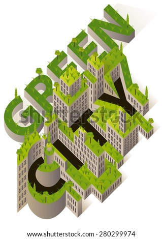 city buildings with green roofs