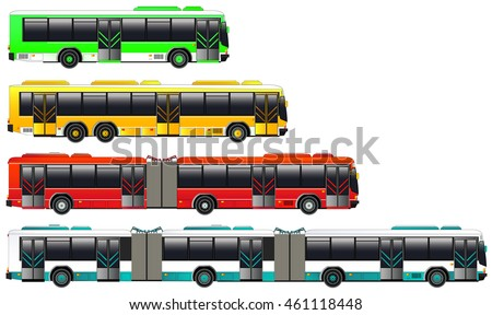 City bus transportation set. Vector illustration. Double articulated bus icon. Isolated on white. Flat style