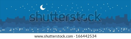 City by night vector illustration with skyscrapers and buildings silhouette, lights in windows, stars and moon. - stock vector