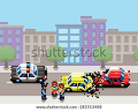 city car collision, police car and people pixel art game style retro illustration - stock vector
