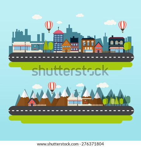city cartoon style flat, village, mountain, for your design - stock vector