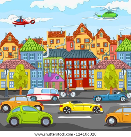 City Cartoon with Traffic. Vector Illustration. EPS 10.