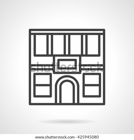 City commercial buildings. Facade of two-story restaurant with arch doors. Simple line vector icon - stock vector