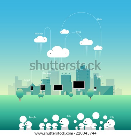 City comunication network cloud with flat style. vector illustration banner and background. - stock vector