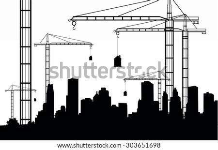 city construction crane design vector illustration - stock vector
