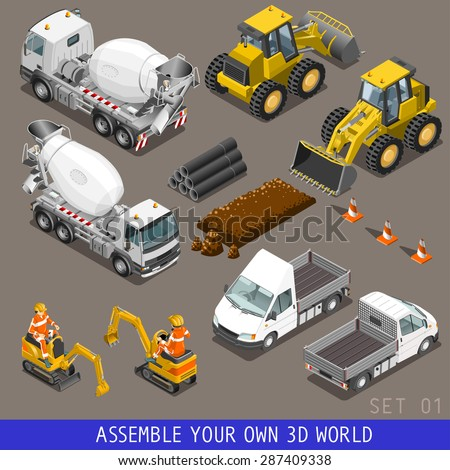 City construction transport icon set. Flat 3d isometric. Excavator crane grader concrete cement mixer scraper truck loader tow wrecker truck. Assemble your own 3D world web infographic collection. - stock vector