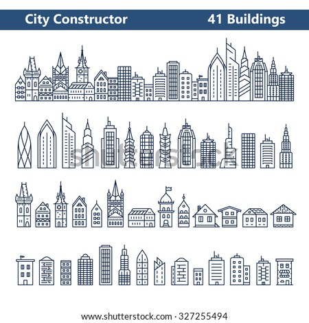 City Constructor. City skyline and 41 buildings. Collection of building icons in liner style - stock vector