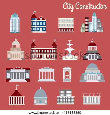 City constructor.Vector illustration of buildings made in cartoon style. Colorful template for business card poster and banner. Big architectural collection in classical and modern styles. - stock vector