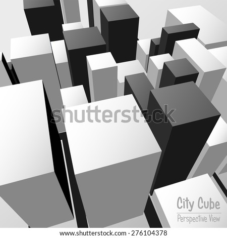 City Cube Perspective View - stock vector