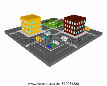 City 3d top view. Isometric part of town with parking, buildings, trees, cars and roads. View from above. Cityscape vector illustration.