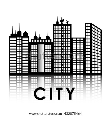 City design. Building icon. Black and white illustration , vector