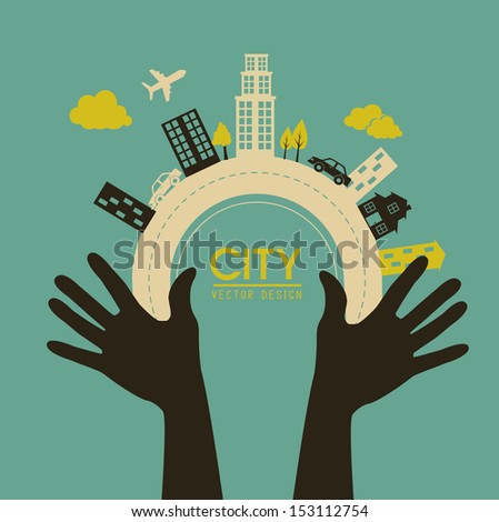 city design over blue background vector illustration   - stock vector