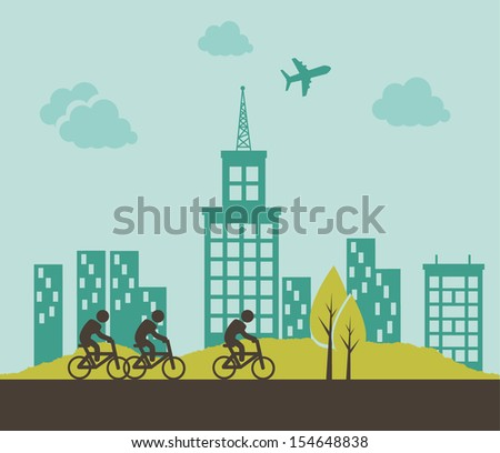city design over sky background vector illustration - stock vector