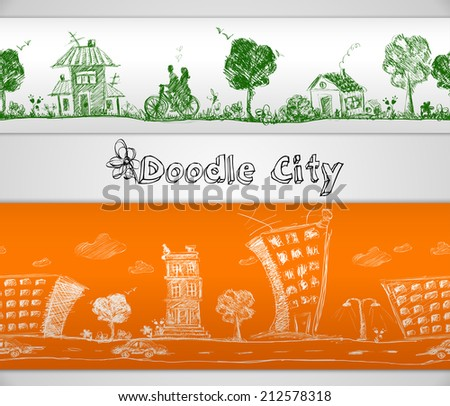 City doodle modern and old urban buildings seamless border vector illustration - stock vector