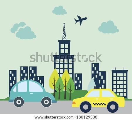 city draw flat design vector illustration - stock vector