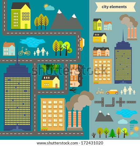 City elements for creating your own map. Easy to edit and recolor - vector object are separated in groups. Create your own map or use sample map for your design.  - stock vector