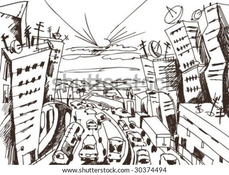 city escape doodle PLEASE, SEE COLOR VERSION - stock vector