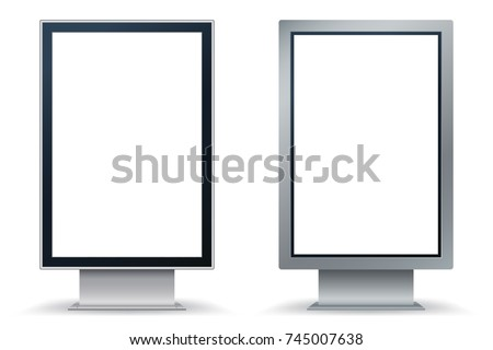 City Format mock up isolated on white background. City Lightbox with black and silver frame. Vertical blank billboard for demonstration of design. Easy editable template. Vector illustration. Eps 10