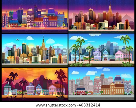 City Game Backgrounds Set - stock vector