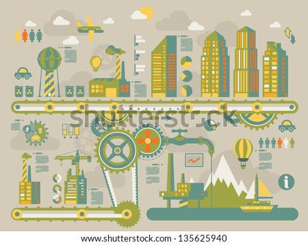 City gear info graphic elements,ecology vector background - stock vector