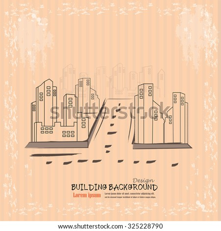 city graphic.building in town.sketch building.vector illustration. - stock vector