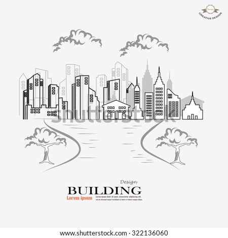 city graphic.building in town.vector illustration. - stock vector