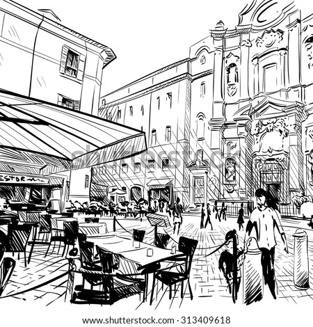 City hand drawn. Cafe sketch, vector illustration