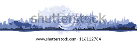 city header template - stock vector