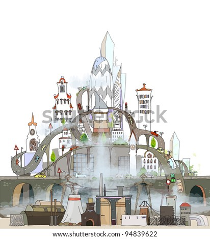 city heavily polluted bu industrial zone - stock vector