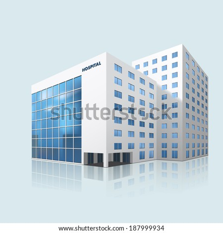 city hospital building with reflection on a blue background - stock vector
