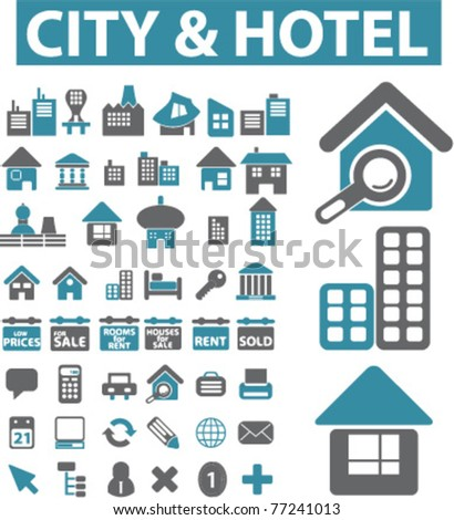 city & hotel icons, signs, vector illustrations - stock vector