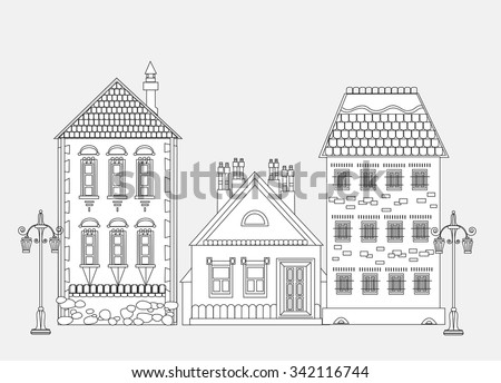 City house, very detailed editable doodle  - stock vector