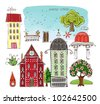 "City houses set 1  ""Happy world"" collection - stock vector"