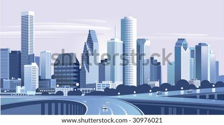 City Houston - stock vector