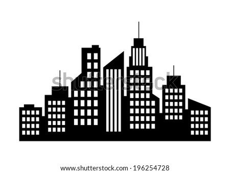 City icon on white background - stock vector