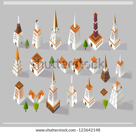 city icons set - stock vector