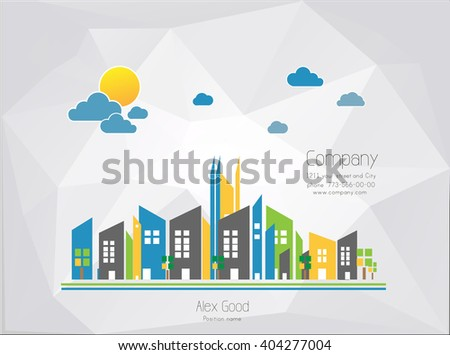 City illustration - stock vector