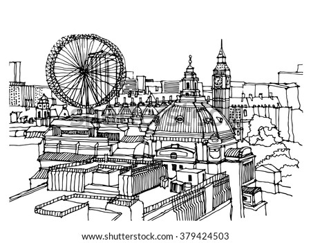 City Illustration Hand Drawn Ink Line Stock Vector