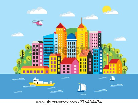 City illustration in a flat style of the buildings, houses, skyscrapers. For decoration and creativity in urban and industrial design theme. - stock vector