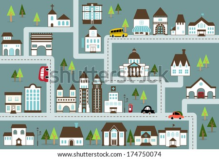 City illustration in blue/City map with a variety of buildings, grocery shop,school,hospital,house,city hall,church, street, cars, etc. - stock vector