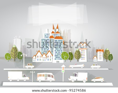 """City illustration """"White city"""" collection - stock vector"""