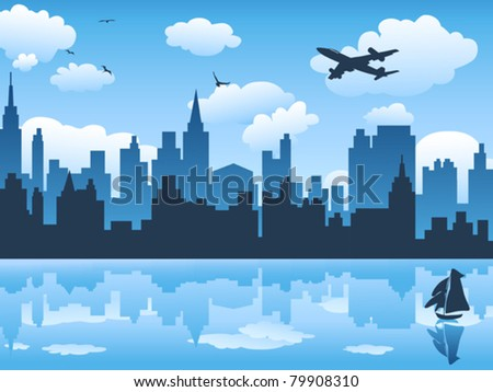 city in blue sky and its reflection on water - stock vector