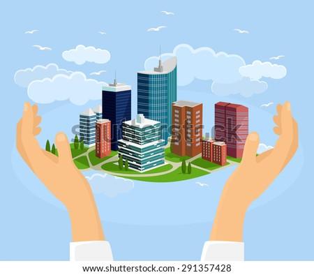 City in handss. Vector flat illustration - stock vector