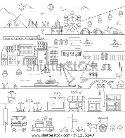 CITY IN LINE ART, FLAT ICONS STYLE. Editable vector illustration file.skyline bird view. - stock vector
