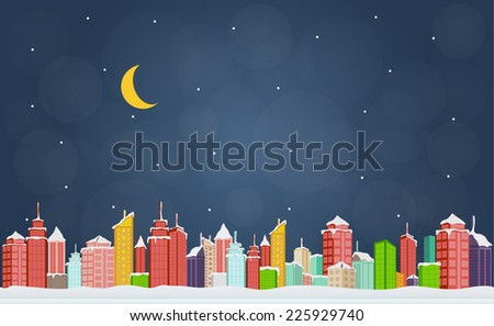 City in winter at night - stock vector