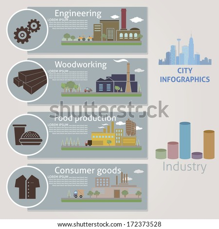 City. Industry. Vector for your design - stock vector