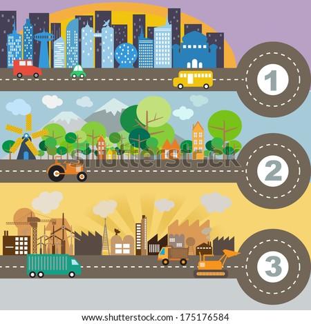 City infographic, vector format - stock vector