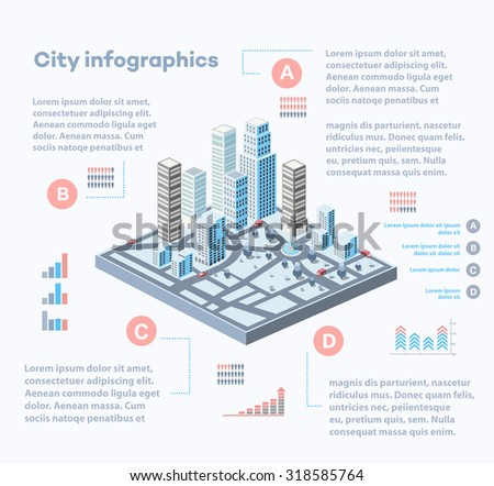 City infographics consisting of a city block of skyscrapers with graphs and diagrams - stock vector
