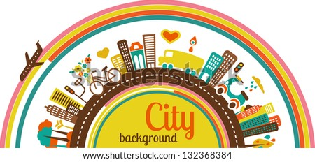 City infographics with icons and elements - stock vector