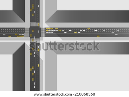 City intersection viewed from above. - stock vector